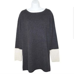 Lord & Taylor duo-tone cashmere tunic sweater
